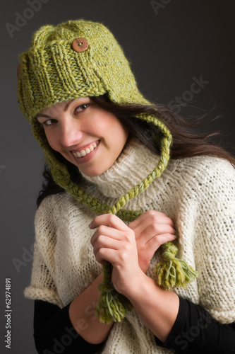 Woman and warm clothes