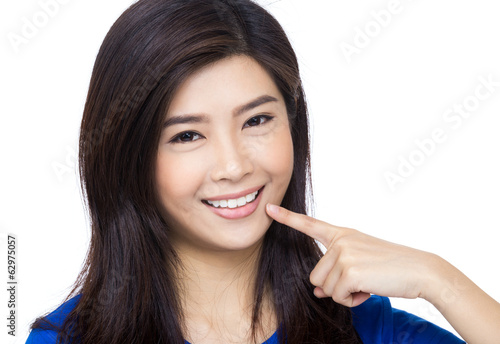 Asia woman pointing to her mouth