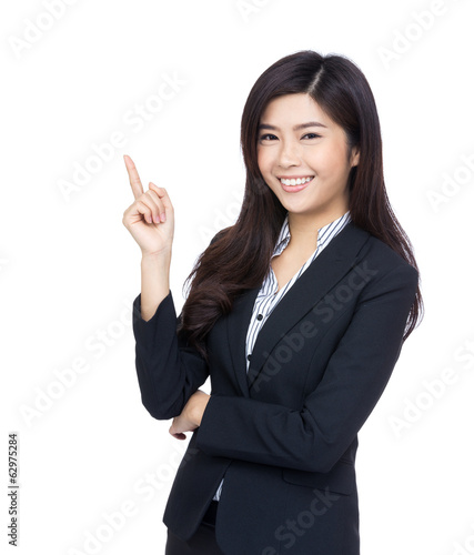 Asian businesswoman point up