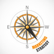 COMPASS pointing to MARKETING STRATEGY (advertising market PR)