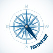 COMPASS pointing to PARTNERSHIP (business corporate B2B)