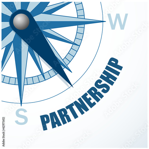 COMPASS pointing to PARTNERSHIP (business projects contract b2b)