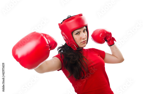 Woman boxer on white background