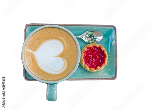 Cup of coffee, heart shape with strawberry biscuit on white