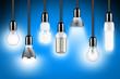 Leinwanddruck Bild - lamp row blue