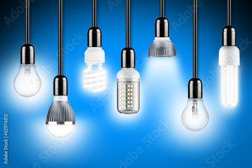 Leinwanddruck Bild lamp row blue