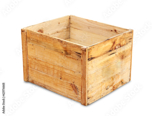 wood box isolated with clipping path