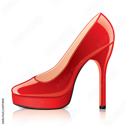 Red shoe high heels vector illustration
