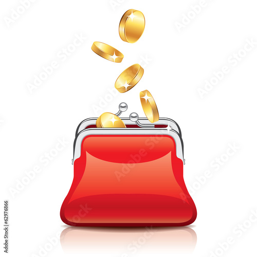 Red purse and coins vector illustration
