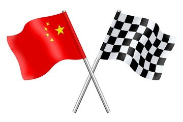 Flags : China and checkerboard