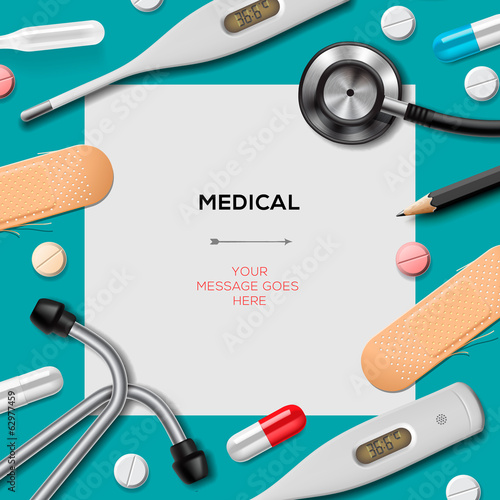 Medical template with medicine equipment, vector Eps10.