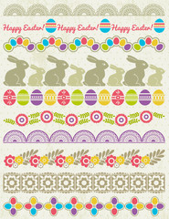 Set of Lace Paper with flower an easter eggs, vector