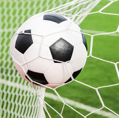 soccer ball in the goal net