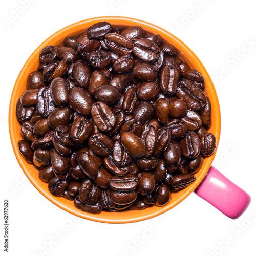 coffee beans in pink cup