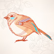cute orange and turquoise bird