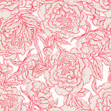 Fototapety seamless red and beige peonies