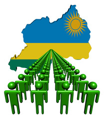 Lines of people with Rwanda map flag illustration
