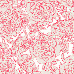 seamless red and beige peonies