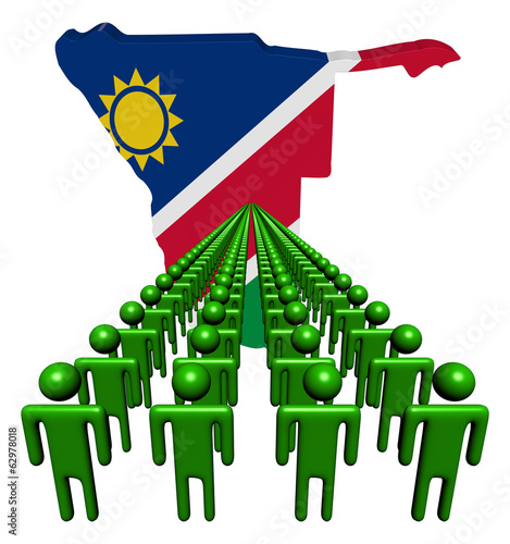 Lines of people with Namibia map flag illustration