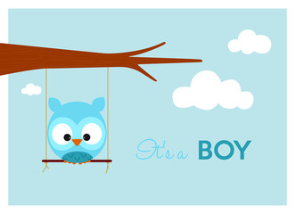 baby shower card with cute owl on a swing hanging to the branch