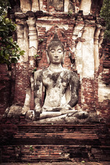 sculpture of Buddha at Wat Mahathat ruins. Ayutthaya, Thailand