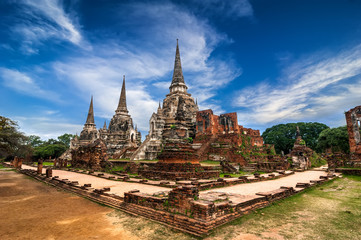 Ancient ruins of Wat Phra Sri Sanphet. Ayutthaya, Thailand