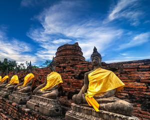 Buddhas at Wat Yai Chai Mongkhon temple. Ayutthaya, Thailand