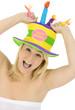 Alberne Frau feiert Geburtstag