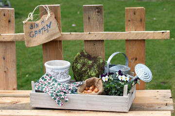 Gartendeko morscher Zaun, Schild: bin im Garten