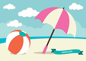 Beach Ball and Umbrella