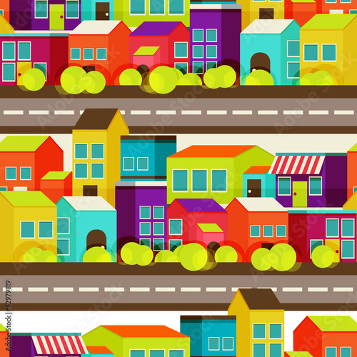 town concept background. Flat Seamless pattern with colorful