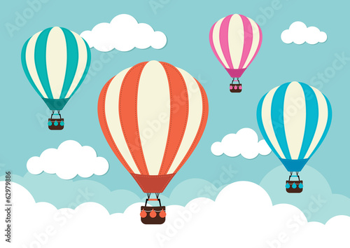 Hot Air Balloons and Clouds - 62979886