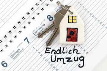 "Kalender ""Umzug"", Schlüsselanhänger ""Haus"""