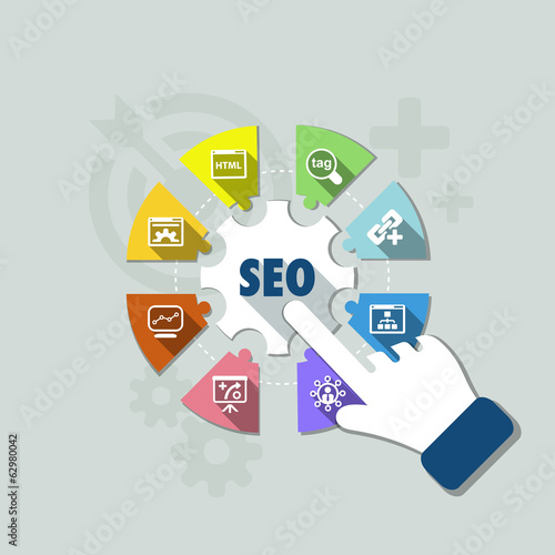 flat seo infographics background
