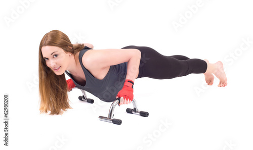 Kickboxing girl exercise in studio