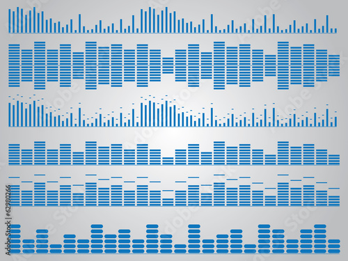 Set of blue music equalizer illustrated on white