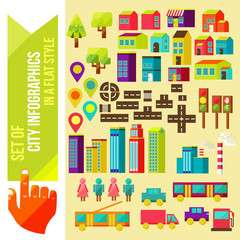 Set of city infographics in a flat style. Flat vector