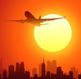 Morning Sun & Airplane-vector