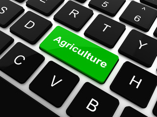 Agriculture word button on keyboard with soft focus