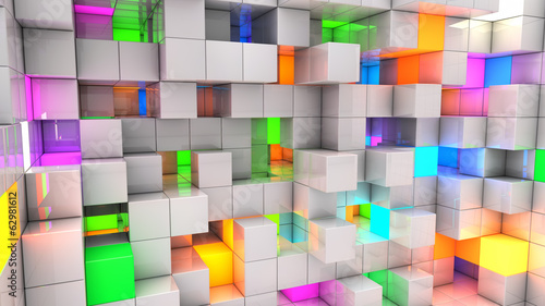 Abstract background white and color light cubes