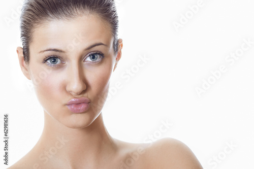 Close-up beauty woman with expressive lips
