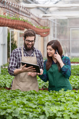 male and female in apron using digital tablet at greenhouse