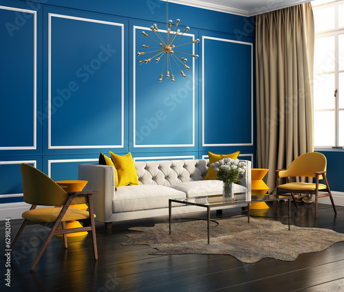 Elegant blue interior, with velvet sofa and large windows