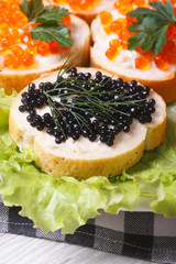 Sandwiches with red and black fish caviar on lettuce