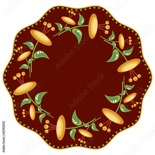 Wreath with yellow flowers on dark red background