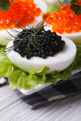 eggs with red and black fish caviar and lettuce