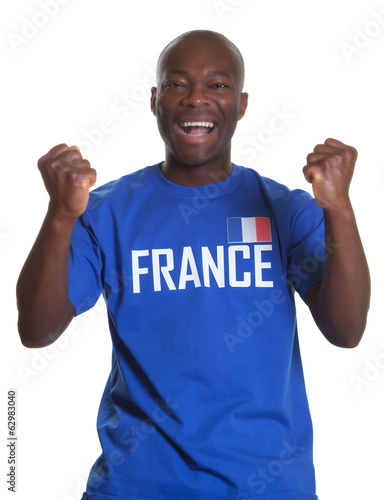 Cheering french sports fan