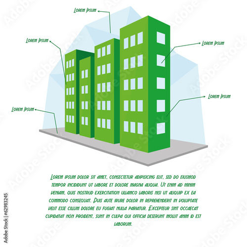 Stylish Building Illustration With Space For Text