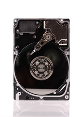 open hard disk drive isolated on white background