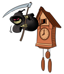 Time to Die. Grim reaper from cuckoo-clock.